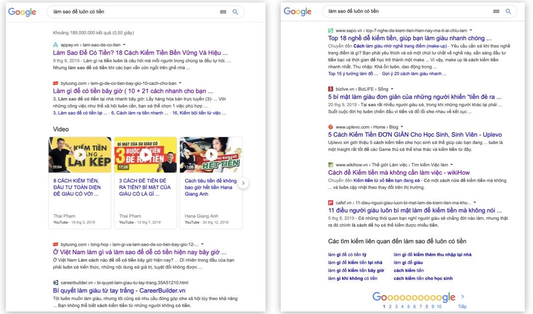 """Kết quả google về """"Làm sao để có tiền"""""""
